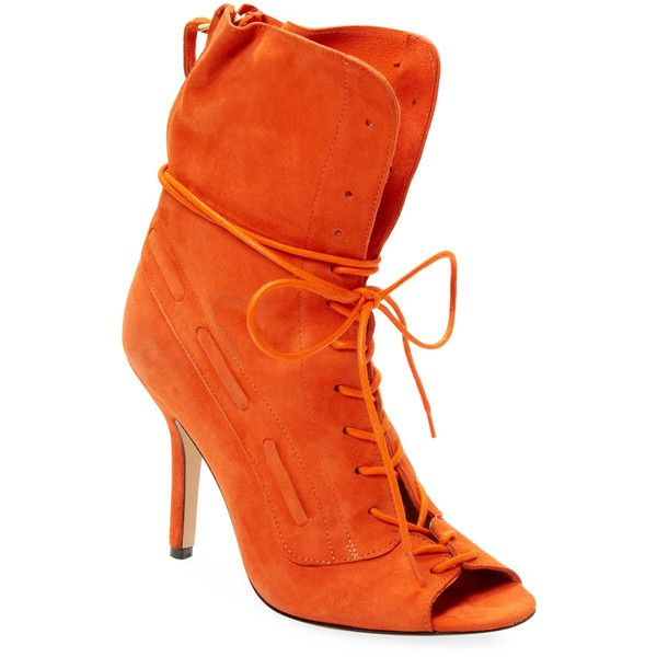 Jerome Dreyfuss Women's Suede Cheyenne 90 Lace-Up Boot - Orange, Size... (12,615 INR) ❤ liked on Polyvore featuring shoes, boots, orange, front lace up boots, laced up shoes, lacing boots, orange boots and lace up high heel boots