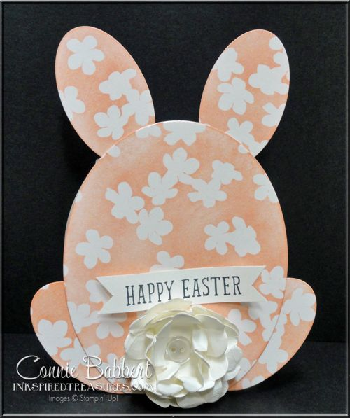 The SUO Challenge is Shaped Cards! I created an Easter Bunny card with the Irresistibly Yours Designer Paper. Sale-A-Bration, Stampin' Up!, #stampinup, Connie Babbert, see details on www.inkspiredtreasures.com