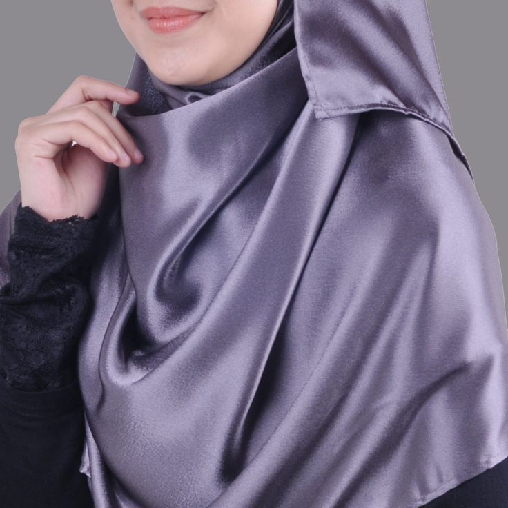 Basic Plain Wide Satin Silk Shawl in Gray (Free Hijab Pin!) - BAJUFOUNDRY