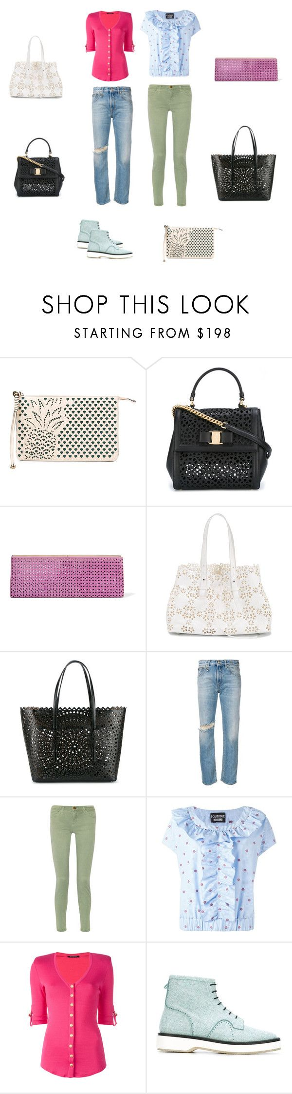 """Cut-out Bags..**"" by yagna ❤ liked on Polyvore featuring Chloé, Salvatore Ferragamo, Jimmy Choo, Simone Rocha, Alaïa, R13, Current/Elliott, Boutique Moschino, Balmain and Adieu"