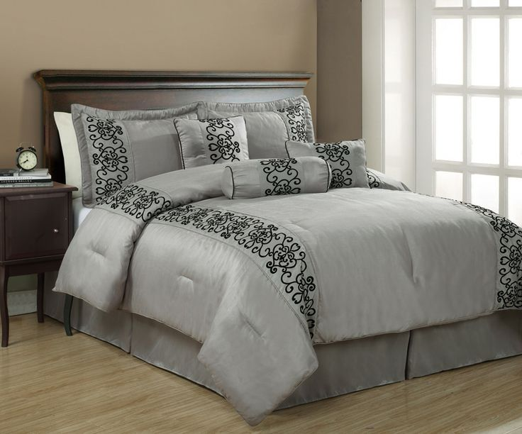 black and grey comforter sets queen | Details about 7Pcs Queen Penelope Black and Gray Comforter Set