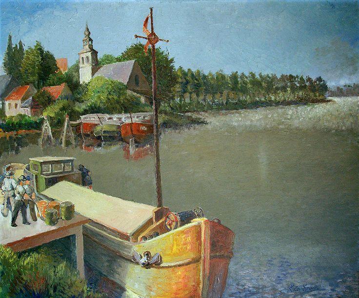 Baasrode langs de Schelde - Olieverf op doek 100x80cm