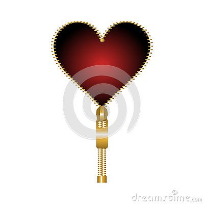 Red #heart shaped #zip on a white #background