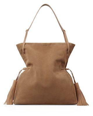 ALLSAINTS . #allsaints #bags #shoulder bags #lining #suede #hobo #cotton #