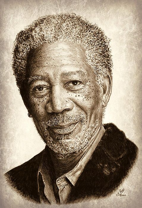 Morgan Freeman graphite drawing with sepia effect. Original drawing is also on my website.
