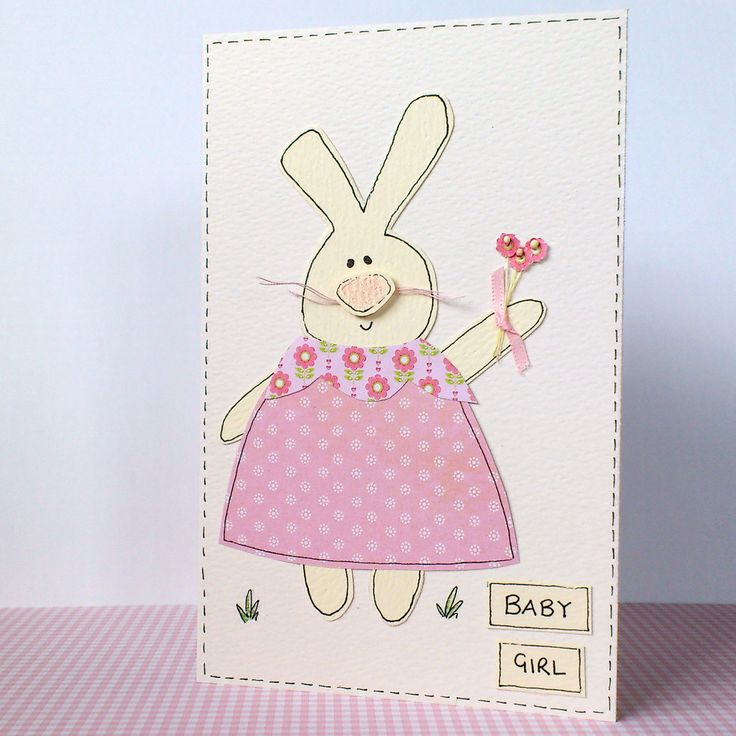 Newborn Baby Girl Card - pink rabbit handmade.