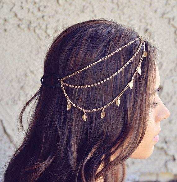 NEW Gold Leaves Rhinestone Indian Boho Bohemian Headband Coachella Festival Hair Chain Accessories Flower Crown Gypsy