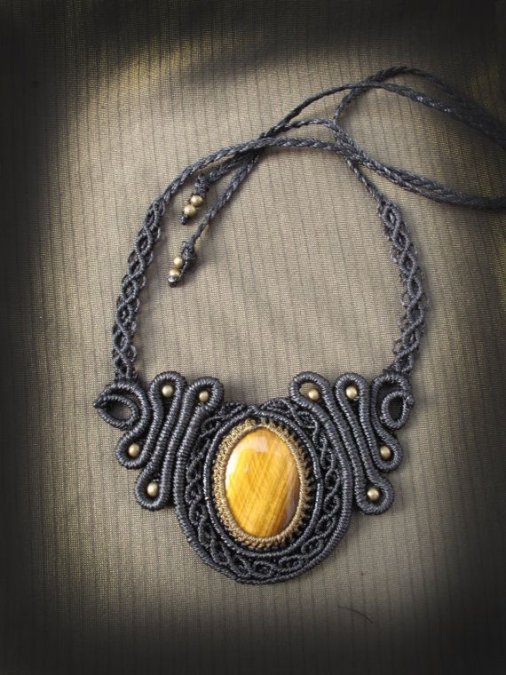Macrame necklace with tiger eye. Goddess by AbstractikaCrafts, £35.00