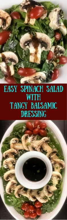Simple yet sophisticated, this easy spinach salad with tangy balsamic dressing uses only 8 ingredients. Coming together in only 20 minutes, this naturally gluten free side dish puts a festive spirit on your holiday or everyday table. | http://asprinklingofcayenne.com