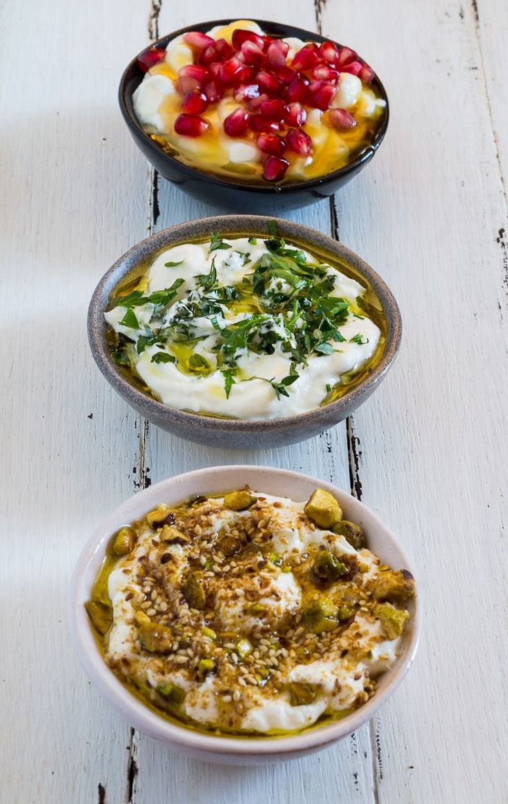 Labneh with different flavors.