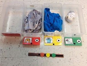 """A visual system for getting dressed. The child matches the chip to the correct bin and then puts on the article of clothing. For early introduction of this system, an adult can flip up the """"signs"""" as that step is complete (seen here with the red sign). You can also put matching pictures on the chips as well. In this version, we used the icons found on a child's AAC device for added support. Over time, you can fade the chips and just have the colored bins lined up in order."""