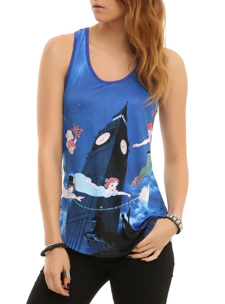 Racer back tank top from Disney with large Peter Pan sublimation print.