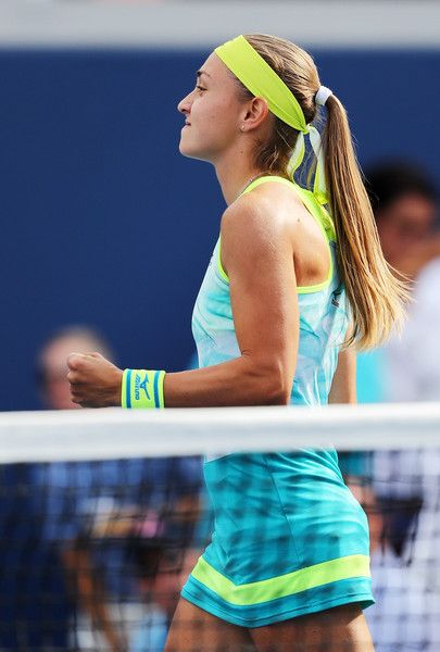 Aleksandra Krunic of Serbia & Montenegro reacts during her first round Women's Singles match against Johanna Konta of Great Britain on Day One of the 2017 US Open at the USTA Billie Jean King National Tennis Center on August 28, 2017 in the Flushing neighborhood of the Queens borough of New York City.