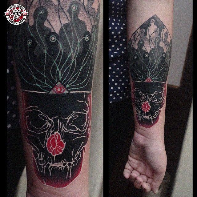 "372 Likes, 17 Comments - Łukasz Sokołowski (@looqsok) on Instagram: ""#rocknink  #tattoo #custom  #nogodsnomasters #fuckreligions #krakow"""