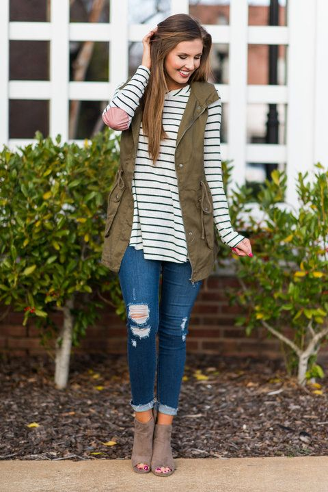 """""""Get In Formation Vest, Olive""""Your fave vest is back to give you another chance at getting your hands on it! This military style vest is killing it! #newarrivals #shopthemint"""