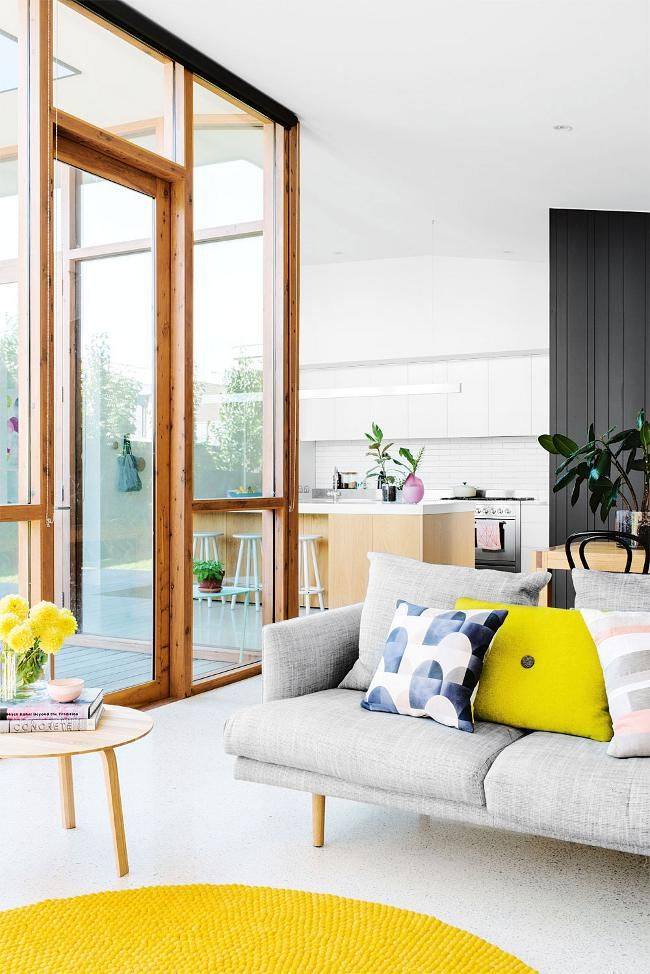 a hint of yellow...& modern Grey Sofa | @andwhatelse