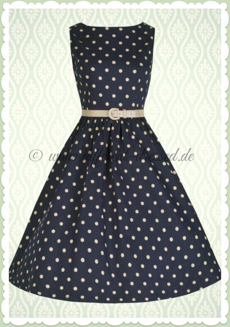 Lindy Bop 50er Jahre Rockabilly Petticoat Punkte Kleid - Audrey - Navy