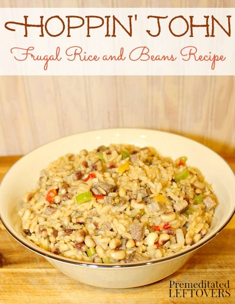 Enjoy this traditional Hoppin' John recipe any time of year. It is made with black-eyed peas and rice. You can use a beef or ham bone to add flavor.