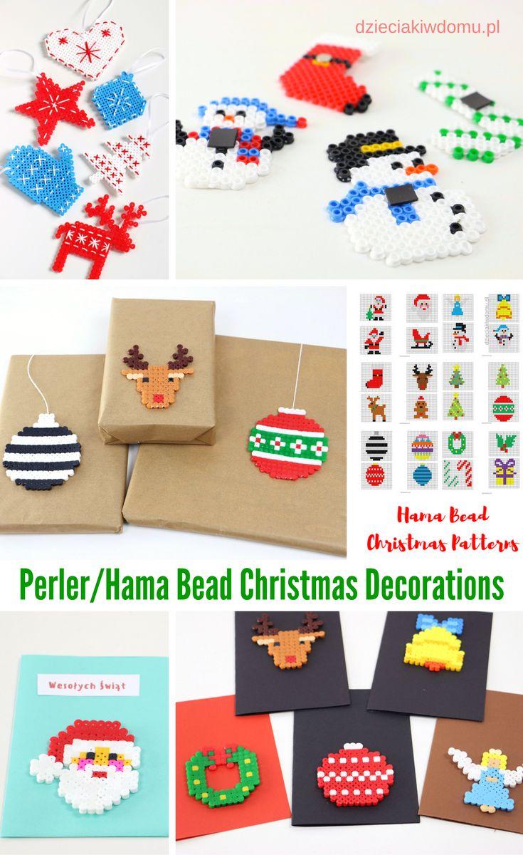 perler hama bead christmas decorations / pomysły na ozdoby świateczne DIY z koralików do prasowania