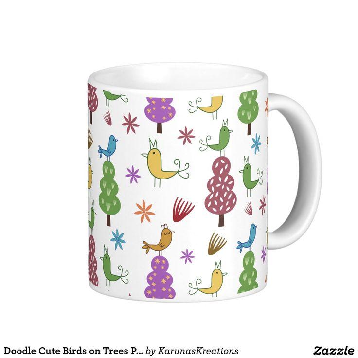 Doodle Cute Birds on Trees Pattern Mug