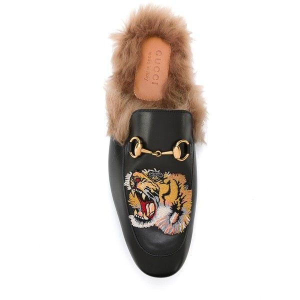 Gucci tiger Princetown slippers ($1,050) ❤ liked on Polyvore featuring men's fashion, men's shoes, men's slippers, mens leather slippers, mens flat shoes, mens black shoes, mens loafer shoes and mens black slippers