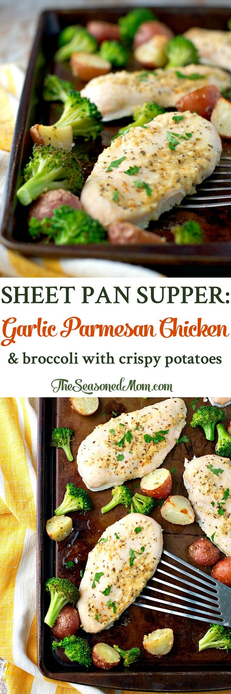 Just 10 minutes of prep and one tray necessary for this Sheet Pan Supper: Garlic Parmesan Chicken and Broccoli with Crispy Potatoes! We love easy dinners!