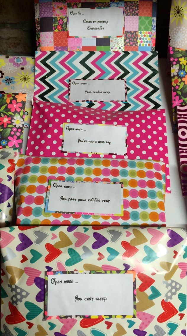 Each envelope contains items which represent the statement on the front.   A nice little surprise to cheer a special somebody up.