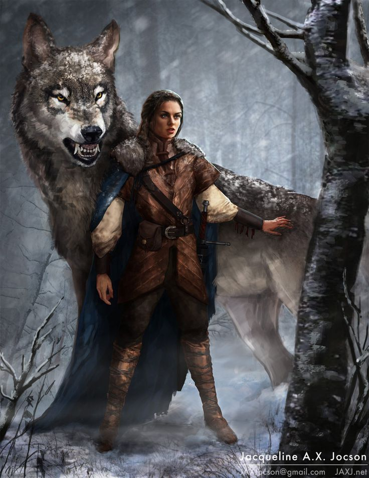 Arya and Nymeria.