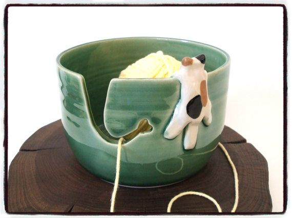 Second Sale-Yarn Bowl with Cute Calico Cat in True door misunrie