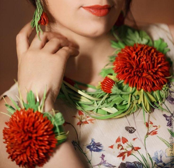 """Купить Комплект из кожи """"Рыжая Хриза"""" - рыжий, хризантема, хризантема из кожи, колье с хризантемой"""