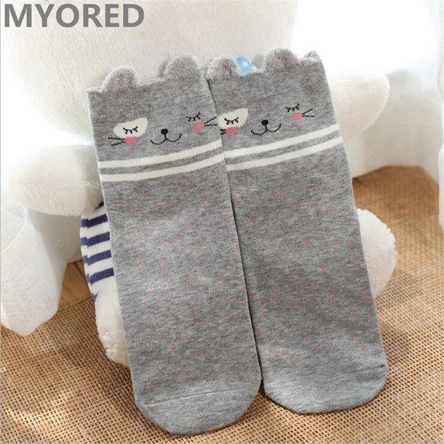 MYORED brand new girls cute panda totoro cartoon crew socks women cotton lace sock men colorful striped dot deer heart sox meias