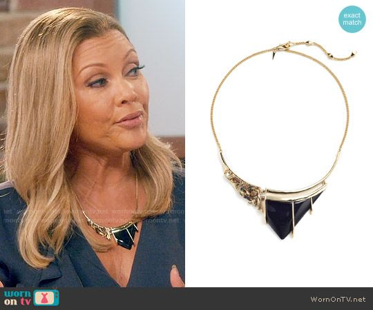 Maxine's black stone necklace on Daytime Divas.  Outfit Details: https://wornontv.net/74629/ #DaytimeDivas