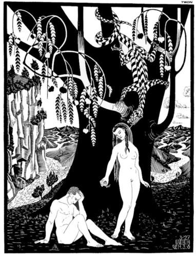 The Fall of Man - Artist: M. Escher Completion Date: 1927 Style: Surrealism Genre: religious painting