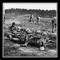 Former slaves collecting bones of soldiers killed in the Battle of Cold Harbor over a year after the battle was fought. Original photographs from the Civil War