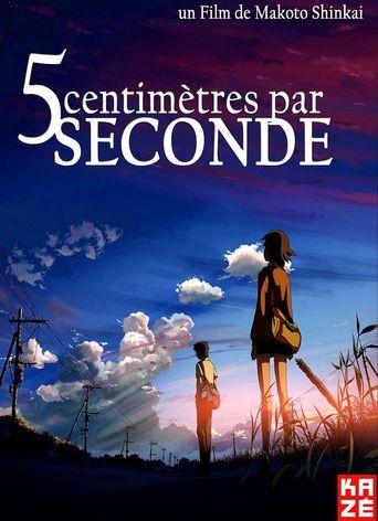 5 centimètres par seconde est un film de Makoto Shinkai, sorti en 2007, avec Kenji Mizuhashi, Yoshimi Kondou, Satomi Hanamura, Ayaka Onoue. Takaki et Akari sont deux camarades de classe de l'école primaire. Au cours de leur temps ensemble, ils sont devenus des amis proches. Leur relation est testée lorsque Akari déménage dans une autre ville à cause du travail de ses parents. tout les deux luttent pour conserver leur amitié, alors que le temps et la distance semblent lentement les séparer…
