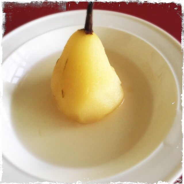 Simple poached pear in a crisp Chardonnay. So fresh and delicious!