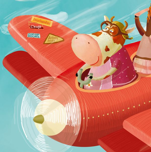 Cow on a Plane? #plane #cow #illustration