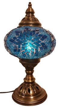 Blue Magic Tribal Mosaic Lamp, Authentic Desk Lamp, Moroccan Style Lamp, Night - mediterranean - Table Lamps - JAY BAZAAR