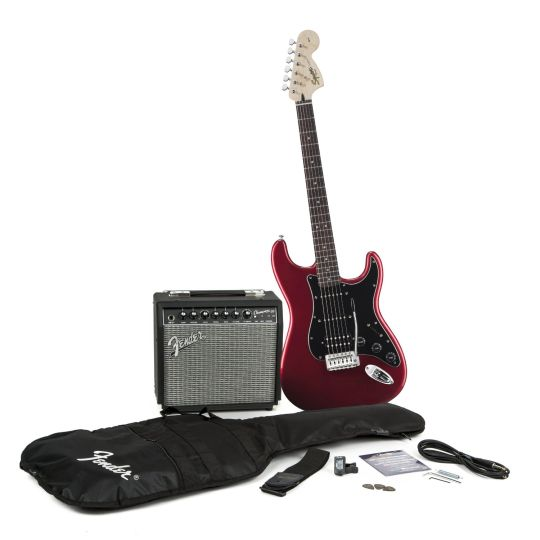 Today Deals 15% OFF Squier by Fender Strat HSS Electric Guitar Pack Candy Apple Red | Amazon:   Today Deals 15% OFF Squier by Fender Strat HSS Electric Guitar Pack Candy Apple Red | Amazon #TodayDeals #DailyDeals #DealoftheDay - Theres no easier and better way to get started on electric guitar than this electrifying Squier set up. Opening the box opens your musical future with a sleek and huge-sounding Affinity Series Strat HSS guitar a versatile 20-watt Fender Champion 20 amp to plug it…