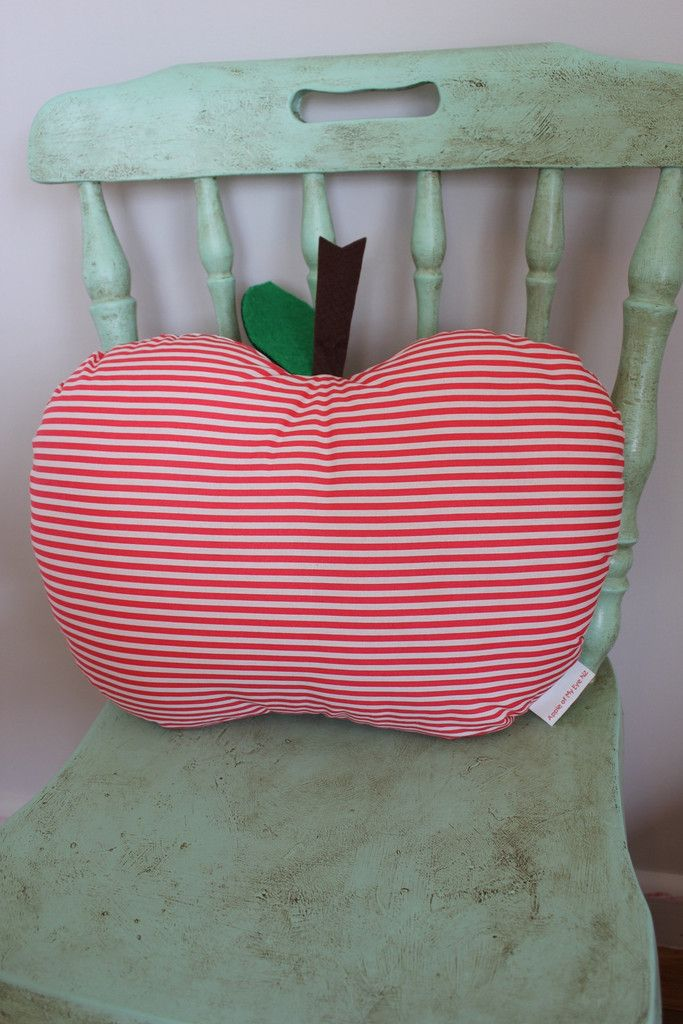 Lovely red, striped Apple Cushion.