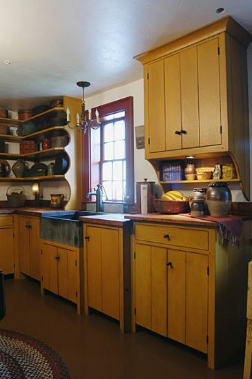 Workshops of David T. Smith - Custom Kitchens - Primitive    Paint the kitchen cabinets mustard? How  would that go with the countertops and floor???