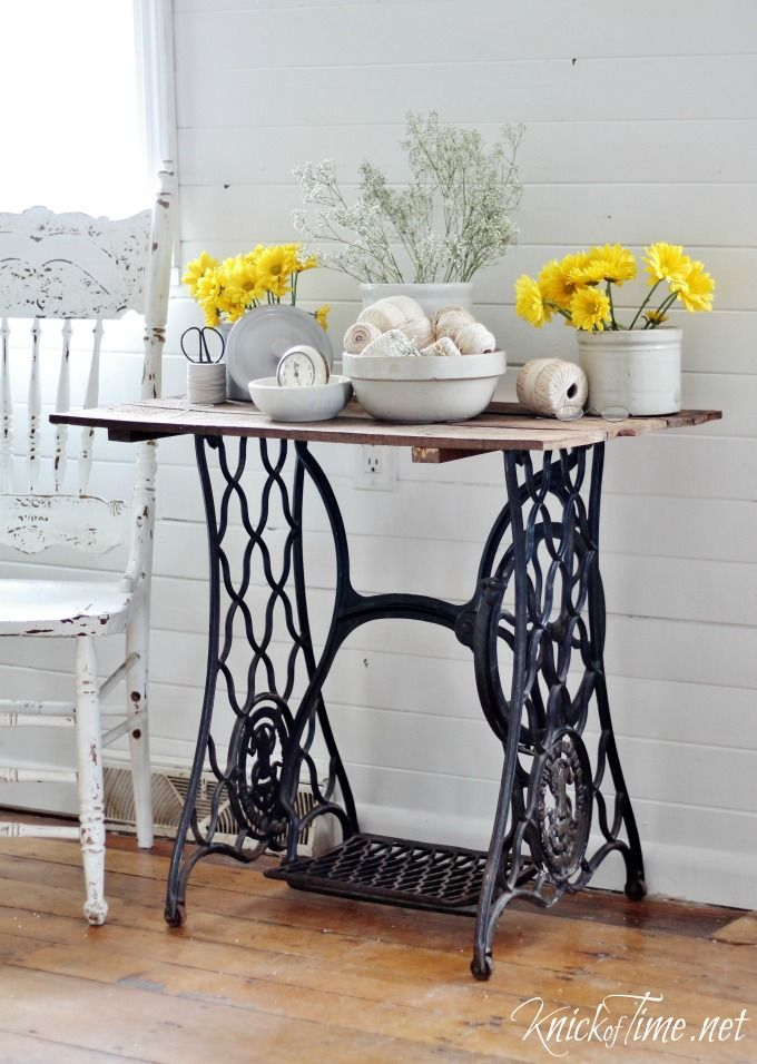 Antique Sewing Machine Table via KnickofTime.net