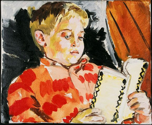 Sandra Fisher Max Reading (White Book) early 1990's  oil on canvas, 10 x 12 inches  Collection of Max Kitaj (c) Estate of Sandra Fisher