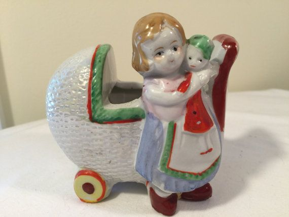 Made in japan little girl with baby buggy by Jennifersvintagefind