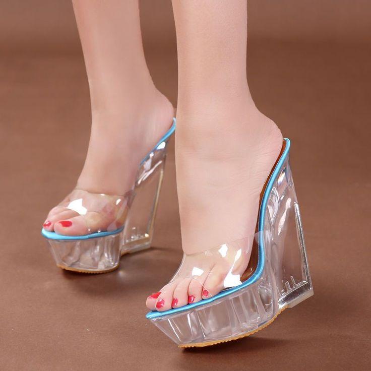 Womens Super High Heel Wedge Platform Open Toe Slipper