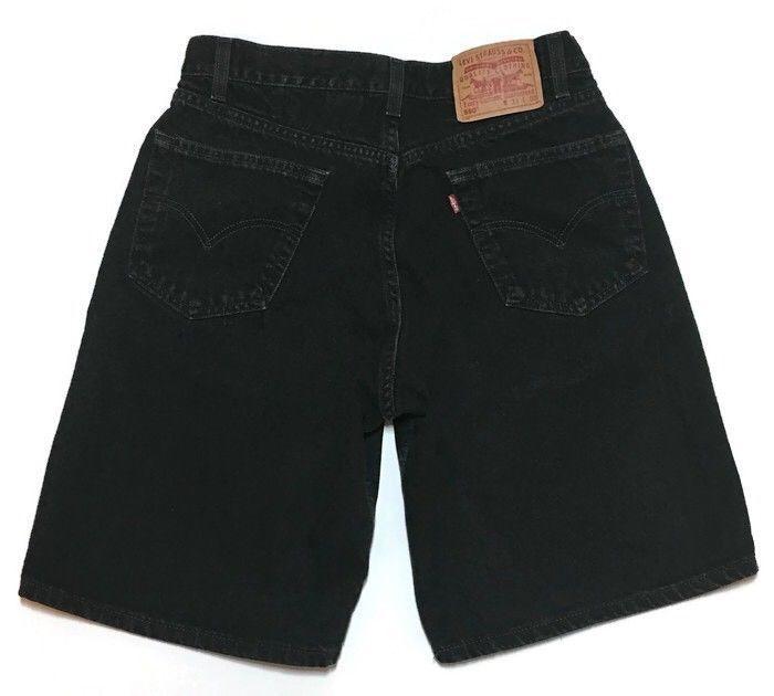 Vtg Levis 550 Denim Shorts Black Dad Mom Relaxed Fit 32 Distressed Red Tag Men  #Levis #Denim