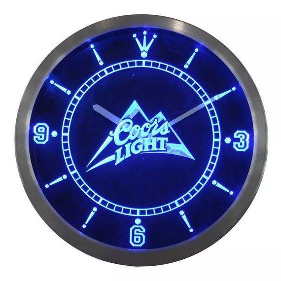 Coors Light Custom Clock Led Light Sign Etsy In 2020 Custom Clocks Wall Bar Bar Signs