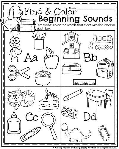 Beginning sounds worksheet for Kindergarten.