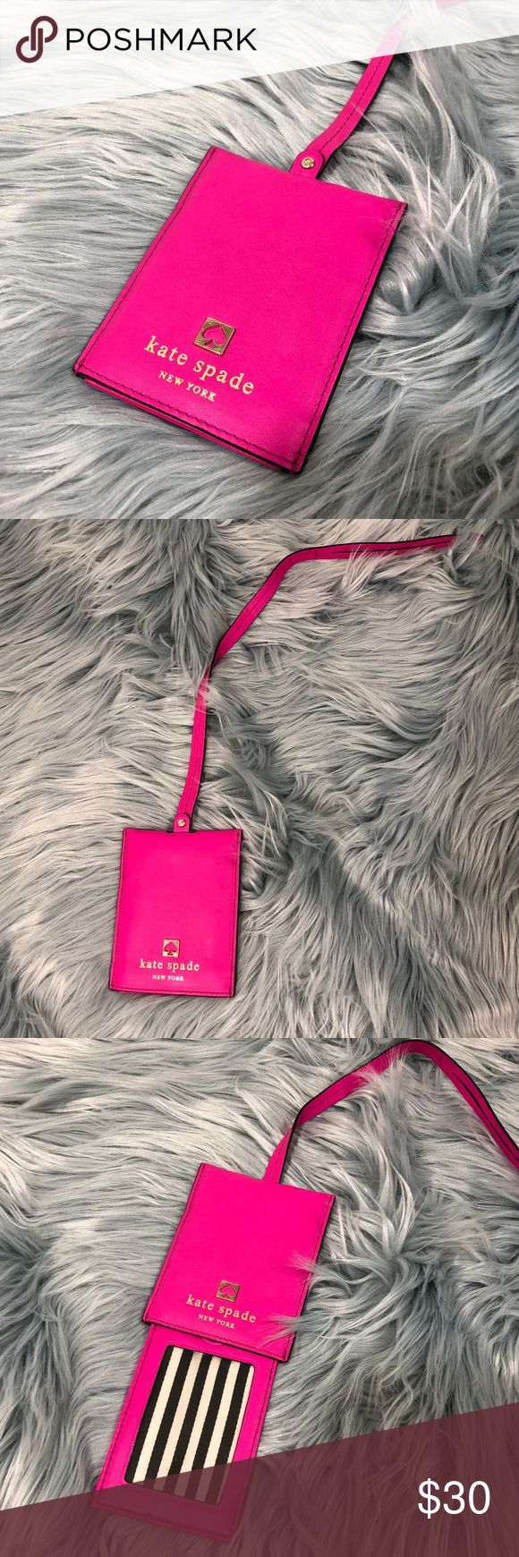 "🔥🔥Kate Spade Hot Pink Luggage Tag Very cute luggage tag from Kate Spade. Only used once. Great condition. 3"" W x 4"" H, strap length: 14"" kate spade Accessories"