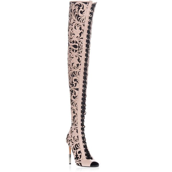 Balmain Campbell Over the Knee Boot ($5,350) ❤ liked on Polyvore featuring shoes, boots, pink, over knee leather boots, leather thigh boots, above knee boots, pink over the knee boots and pink thigh high boots